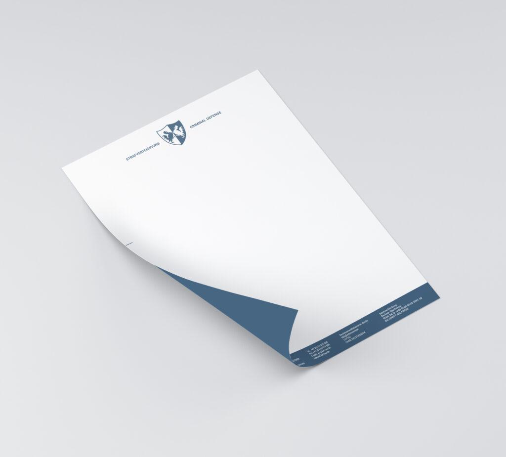 Briefbogen mit farbiger Rückseite KRL LAW