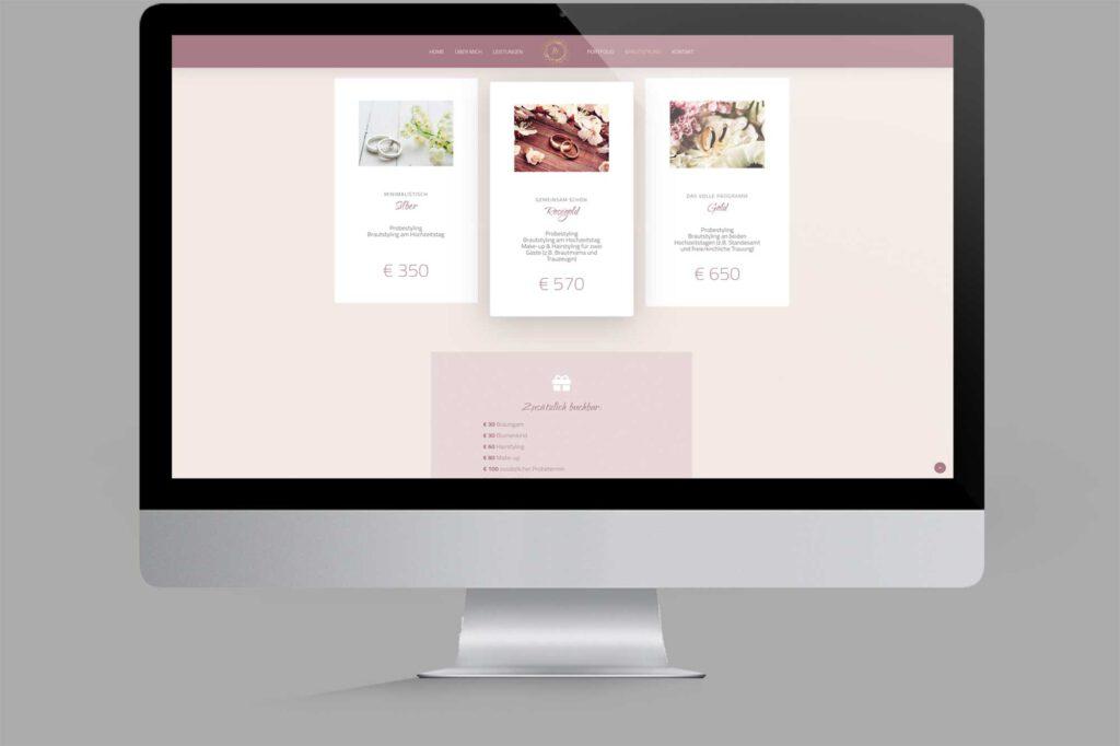 Website für Diplom Maskenbildnerin | Make-Up-Artist: Preise