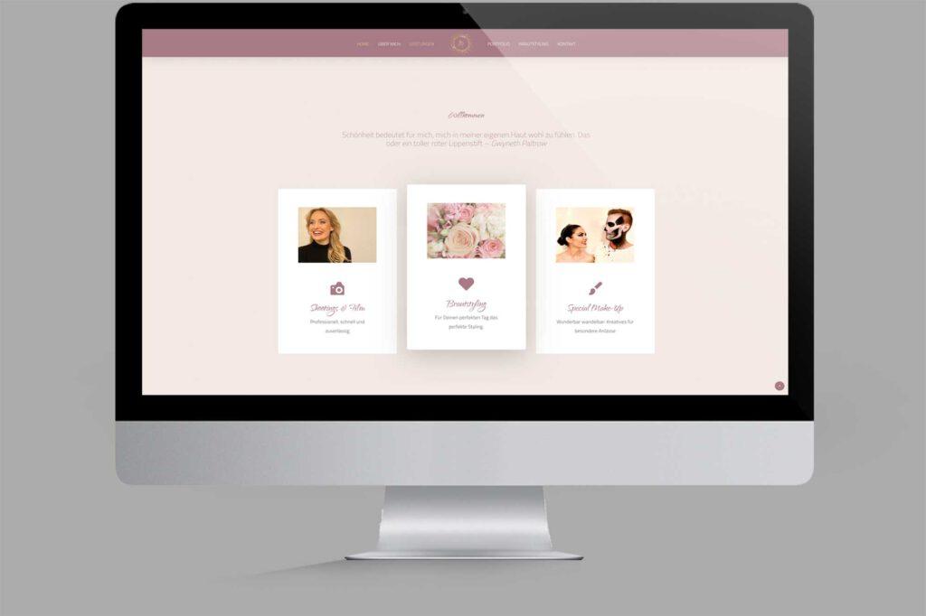 Website für Diplom Maskenbildnerin | Make-Up-Artist: Rubriken