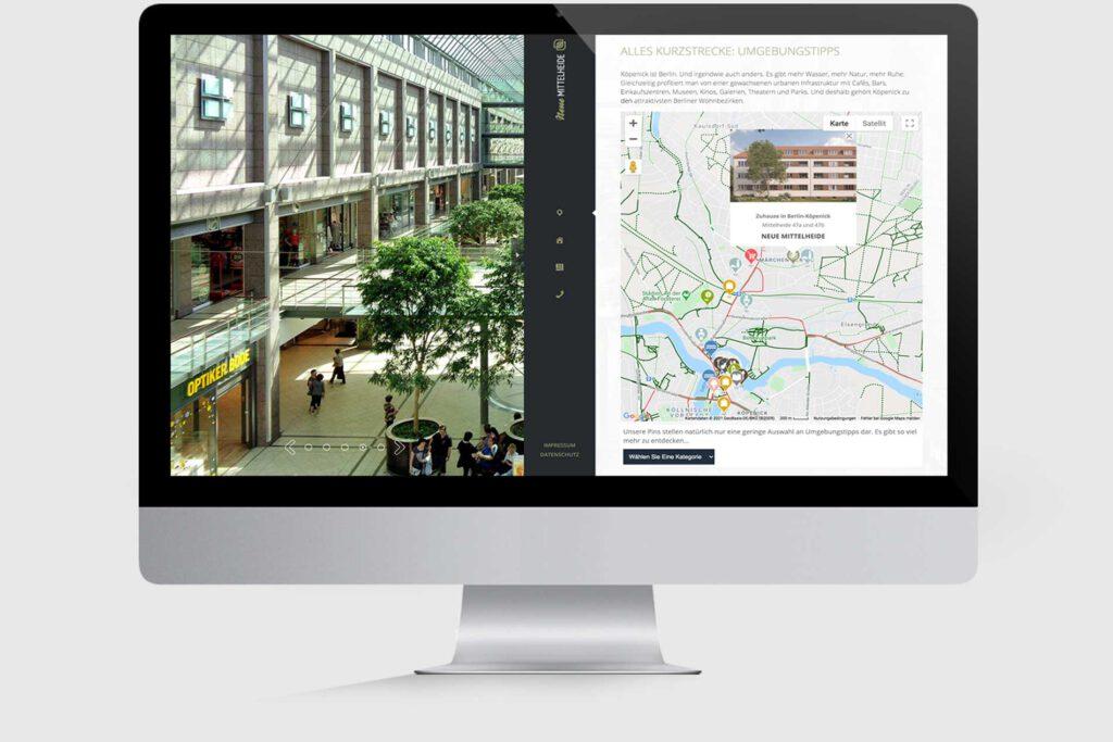 Website für Immobilienprojekt Neue Mittelheide: Interaktiver Lageplan