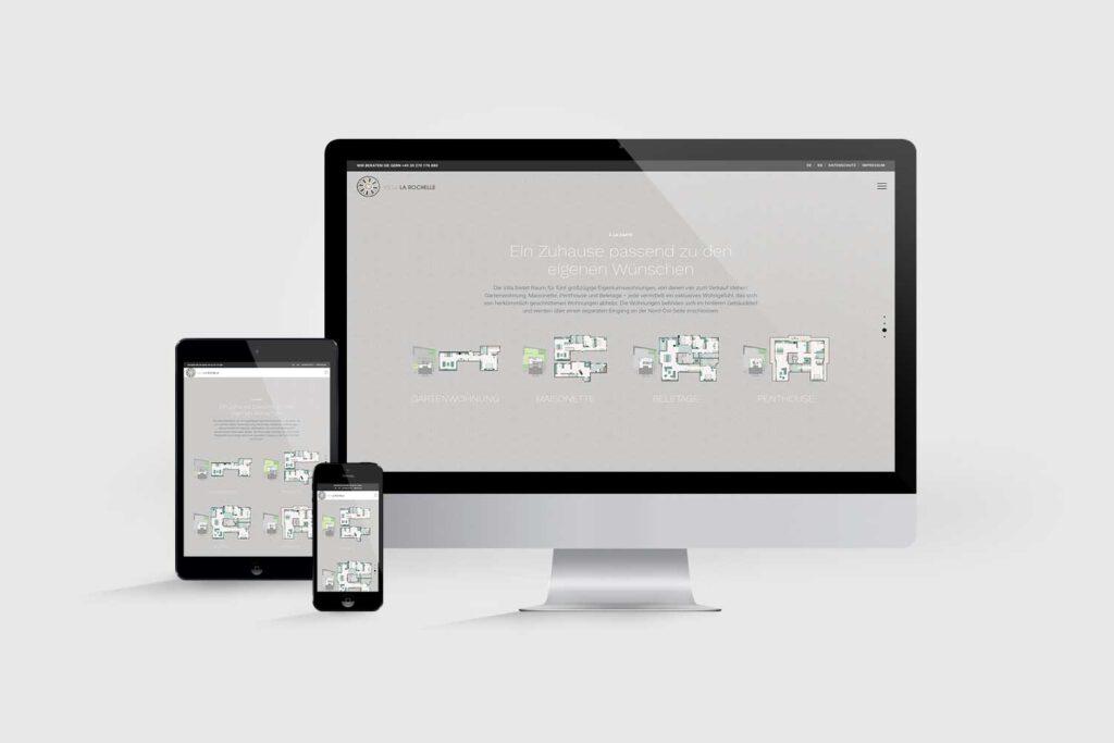 Website für Immobilienprojekt Villa La Rochelle: Grundrisse