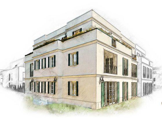 Hausansichten als Aquarelle Villa La Rochelle