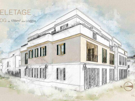 Hausansichten als Zeichnung Villa La Rochelle: mit eingefärbter Wohneinheit für Social Media