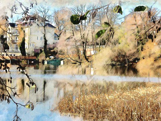 Umwandlung Foto in Aquarell für Villa La Rochelle