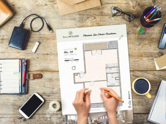 Grundrissplakat für Neubauprojekt Neue Mittelheide