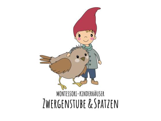 Illustrationen für gemeinsames Logo der beiden Montessori-Kinderhäuser Zwergen und Spatzen