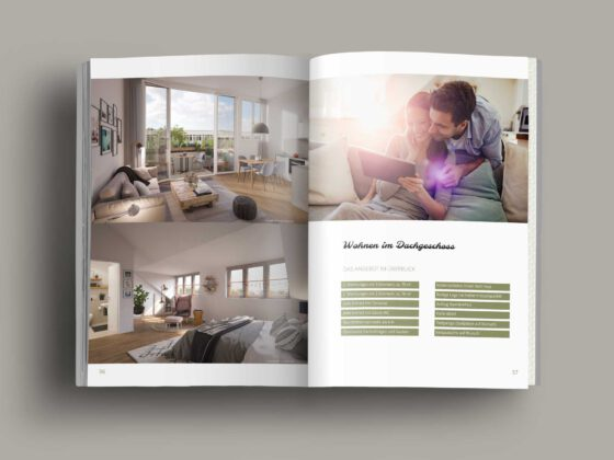 Broschüre als Softcover für Neubauprojekt Neue Mittelheide